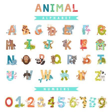Whole English alphabet with animals. Vector illustration.