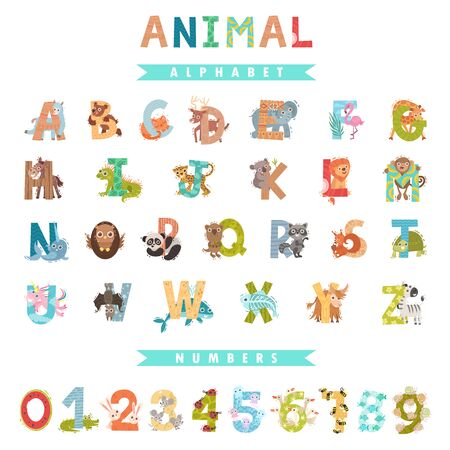 Whole English alphabet with animals. Vector illustration.