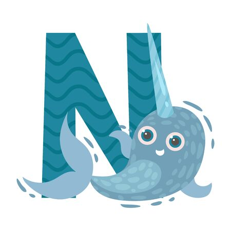 Blue narwhal with a long horn and a striped letter N. Vector illustration on a white background.