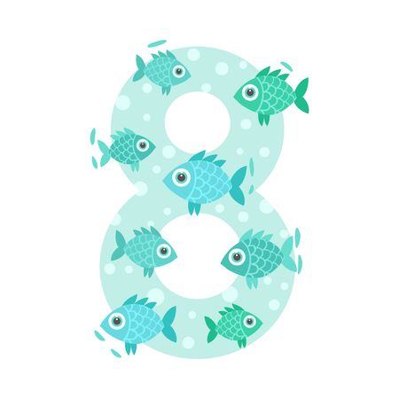 Number 8 and eight fish. Vector illustration on a white background. Illustration