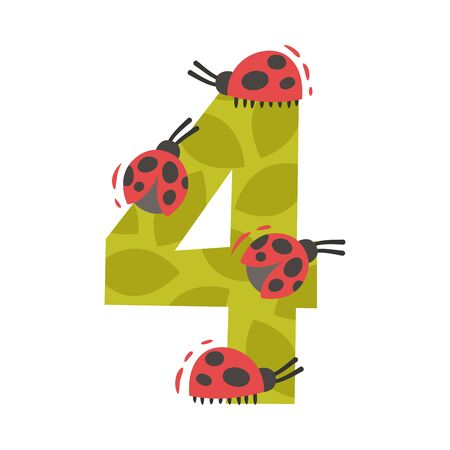 Number 4 and four ladybugs. Vector illustration on a white background.