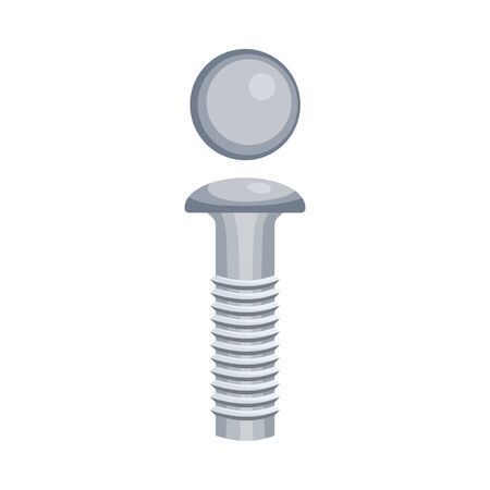 Gray threaded bolt with a curved hat. Side and top view. Vector illustration on a white background. Illustration