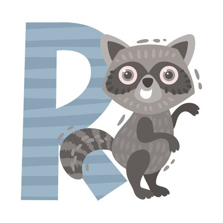 Raccoon and letter R. Vector illustration on a white background.