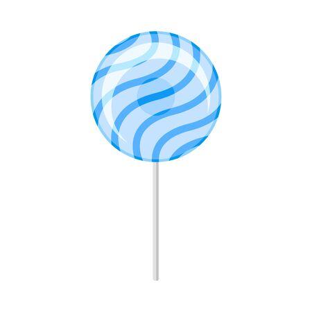 Round blue lollipop. Vector illustration on a white background.