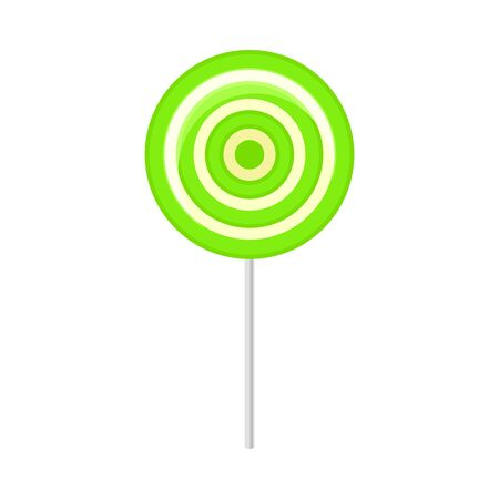 Round striped lollipop. Vector illustration on a white background.