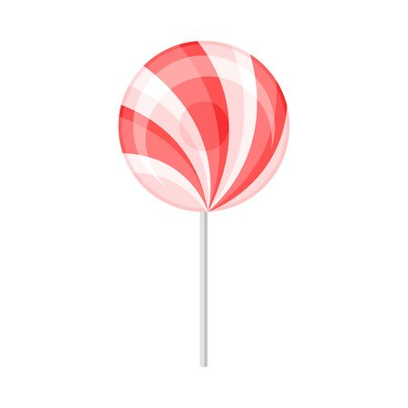 Round red with white lollipop. Vector illustration on a white background.