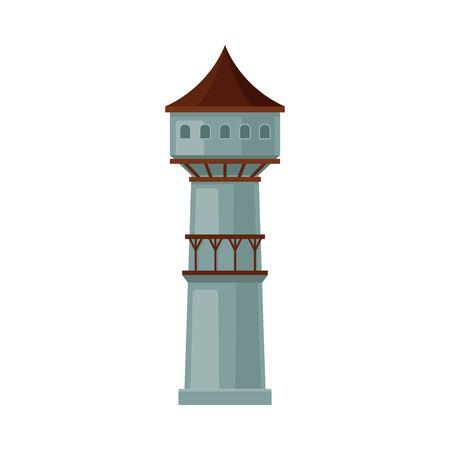 Tour de château grise avec un toit brun. Illustration vectorielle sur fond blanc.