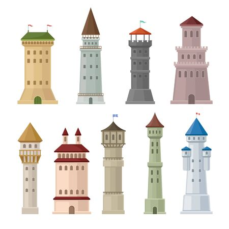 Set of castle towers. Vector illustration on a white background.