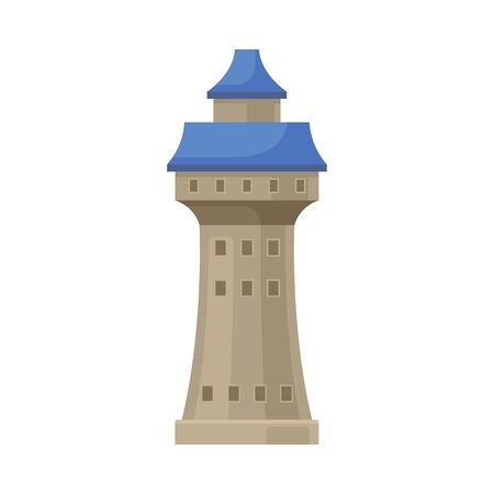 Gray tower with a blue roof. Vector illustration on a white background.