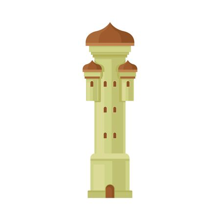 Gray with brown roof and door tower. Vector illustration on a white background. Çizim