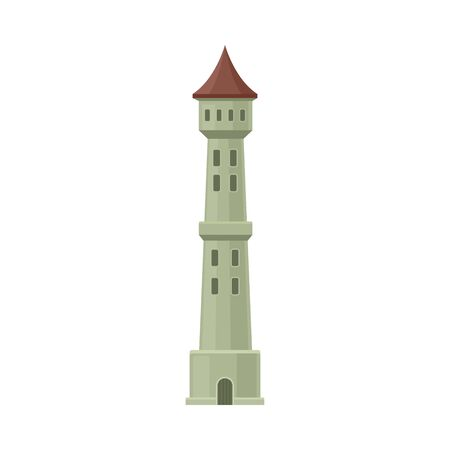 Narrow gray castle tower with windows. Vector illustration on a white background.