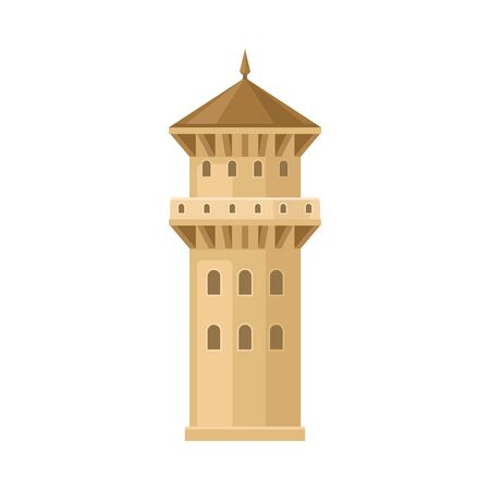 Thick beige castle tower. Vector illustration on a white background. Çizim