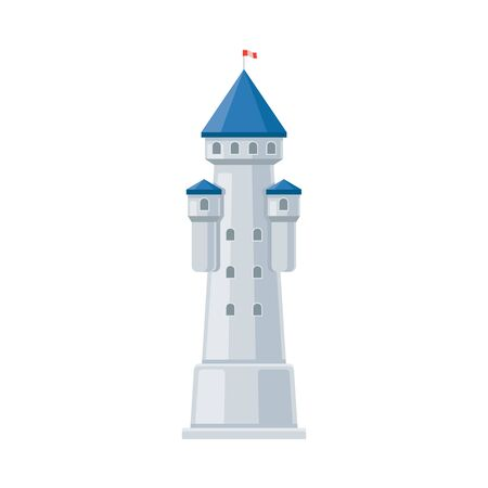 Gray tower of a fairytale castle. Vector illustration on a white background.