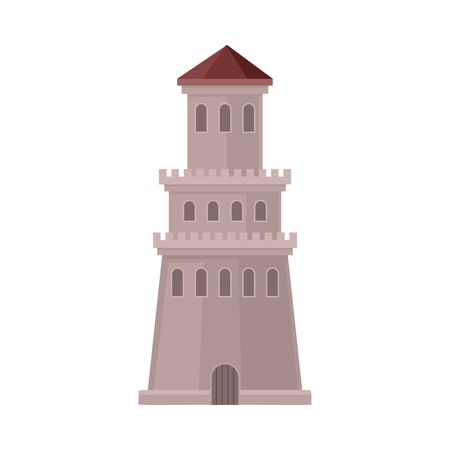 Tower is in the shape of a cone. Vector illustration on a white background.