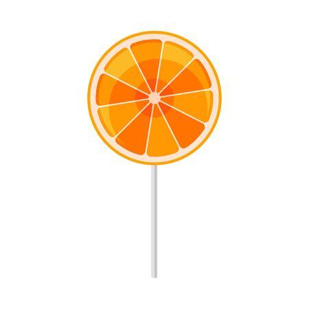 Orange lollipop. Vector illustration on a white background. Ilustração