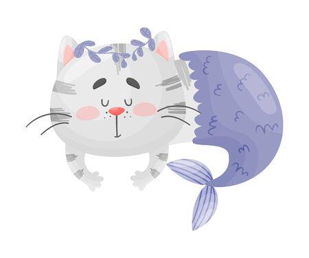 Le chat sirène avec un brin d'algue bleue sur la tête dort. Illustration vectorielle sur fond blanc. Vecteurs