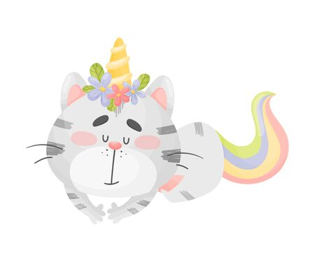 Unicorn cat is sleeping. Vector illustration on a white background.