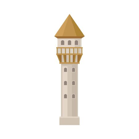 Narrow tower of the castle. Vector illustration on a white background. Çizim