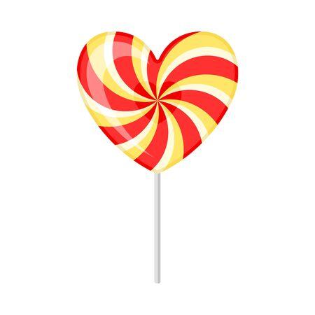 Lollipop in the shape of a heart. Vector illustration on a white background. Ilustração