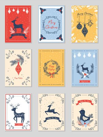 Set of new year cards. Vector illustration.