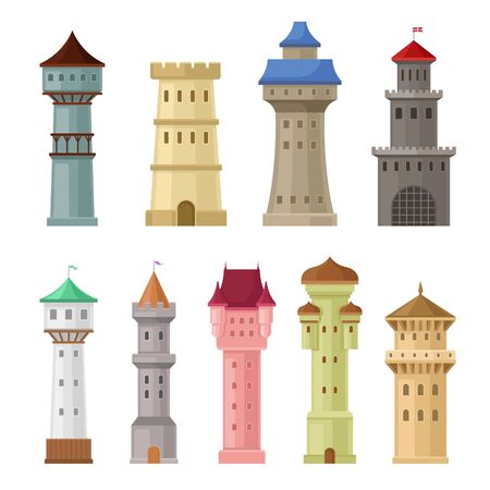 Set of old castle towers. Vector illustration on a white background. Çizim