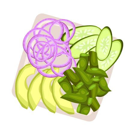 Rings of purple onions, slices of cucumber and chopped asparagus on a square plate. Vector illustration. Stock Illustratie