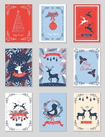 Set of rectangular Christmas cards. Vector illustration.