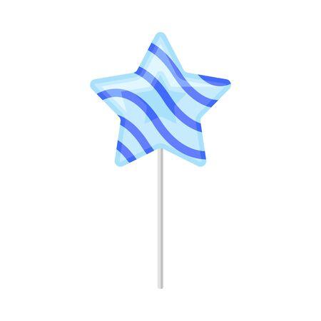 Blue star lollipop. Vector illustration on a white background.