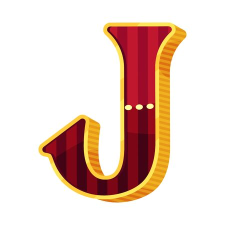 Letter J in circus style. Vector illustration on a white background. Illustration