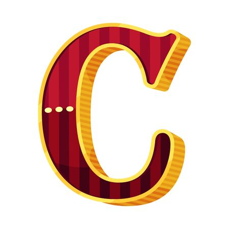 Letter C in circus style. Vector illustration on a white background.