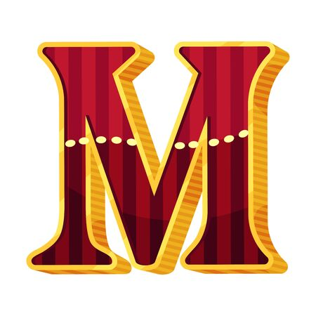 Letter M in circus style. Vector illustration on a white background. Illustration