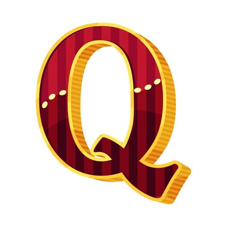 Letter Q in circus style. Vector illustration on a white background.