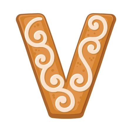 Cookies in the shape of the letter V. Vector illustration on a white background.