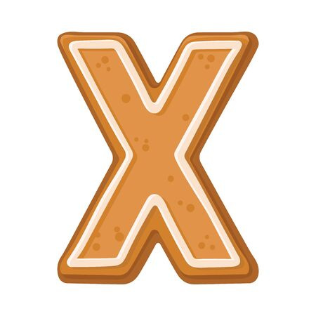 Cookies in the shape of the letter X. Vector illustration on a white background.