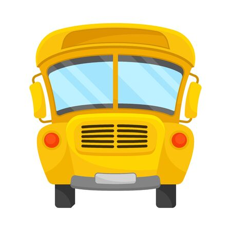 Yellow School Bus Of Front Projection With Curved Roof Vector Illustration