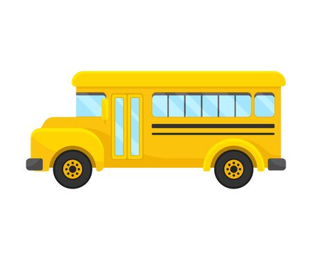 Yellow School Bus Vector Illustration Of Left Side Projection