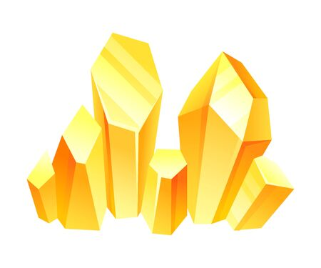 Yellow crystals. Vector illustration on a white background.