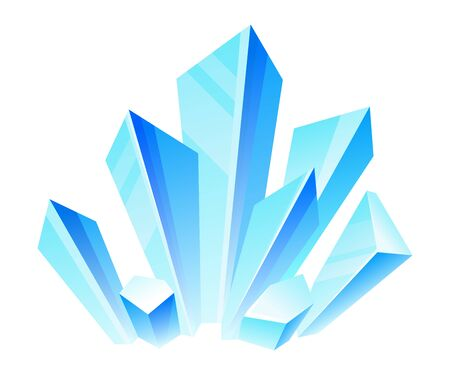 Blue crystals. Vector illustration on a white background. Ilustração
