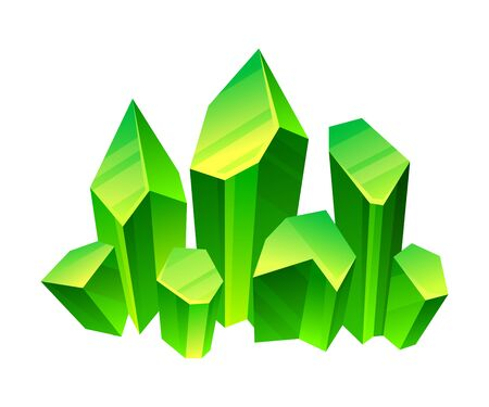 Green crystals. Vector illustration on a white background.