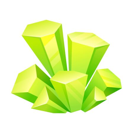 Light green crystals. Vector illustration on a white background.