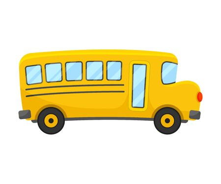 Yellow School Bus of Right Side Projection Vector Illustration