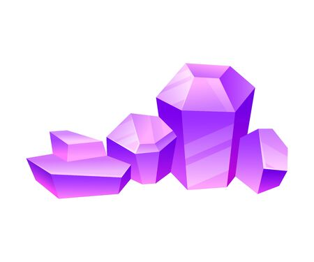 Tall and low violet crystals with flat tops. Vector illustration on a white background.  イラスト・ベクター素材