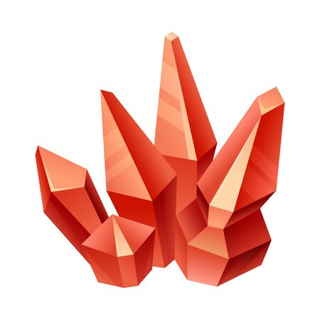 Red crystals of different heights. Vector illustration on a white background.