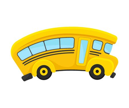 Yellow School Bus With Curved Roof In Comic Style Vector Illustration 向量圖像