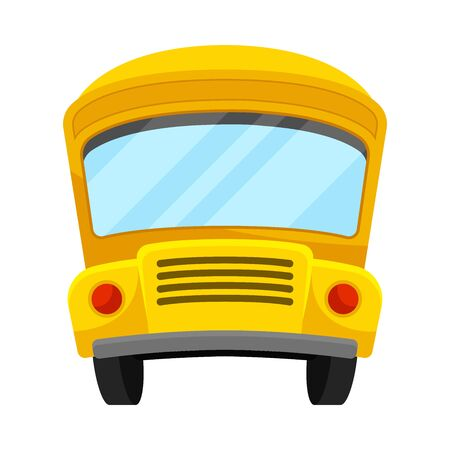 Yellow School Bus Of Front Projection With Curved Roof