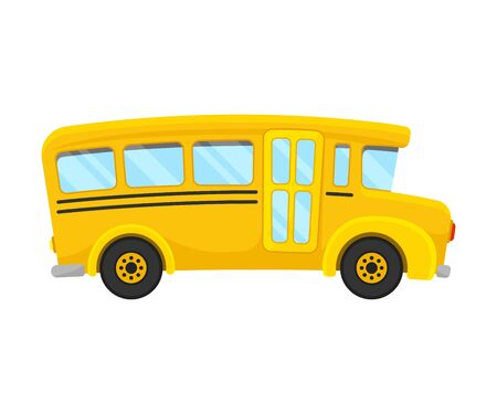 Classic Yellow School Bus Of Right Side Projection Vector Illustration