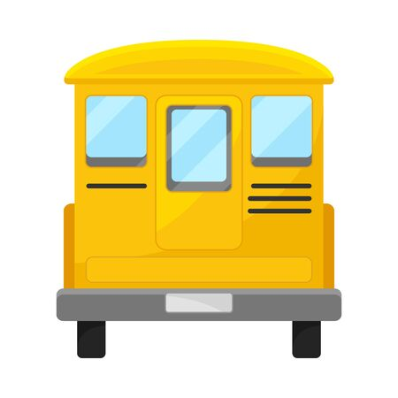 Back Side Of Yellow Bus With Curved Roof Vector Illustration Çizim
