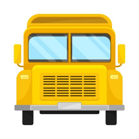 Yellow Bus Of Front Projection With Mirrors And Black Bumper 向量圖像
