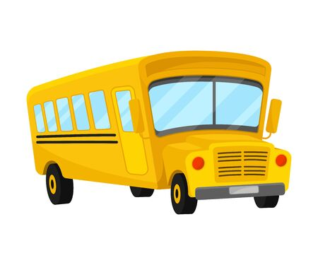 Yellow School Bus Of Corner Projection With Curved Roof In Comic Style 向量圖像