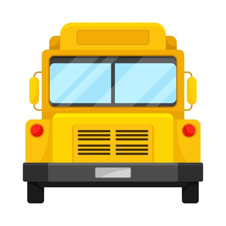 The Front View Of Big Yellow School Bus Vector Illustration